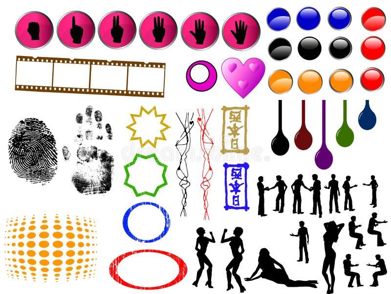 50 SpitzenGrunge Elemente vektor abbildung
