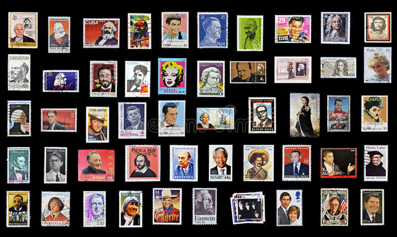 50 stamps of personalities. From around the world