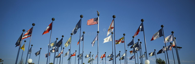 50 tillståndsflaggor av Amerika royaltyfri fotografi