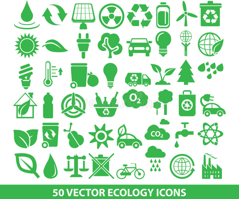 50 vector ecology icons vector illustration
