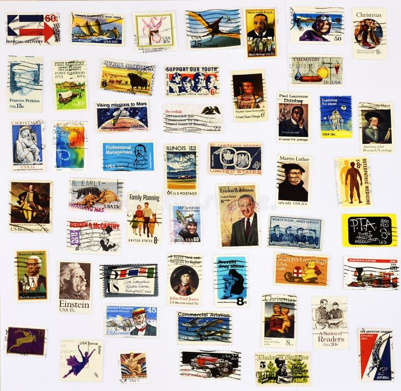 50 verschillende zegels van de Verenigde Staten royalty-vrije stock foto