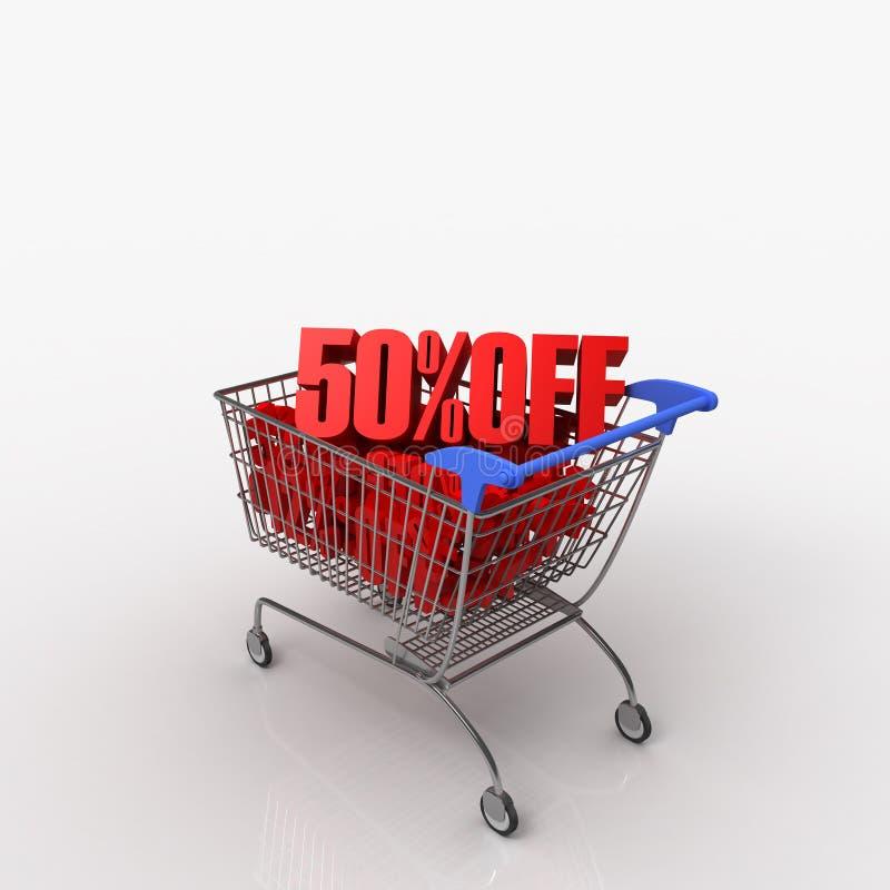 50% WEG vom Einkaufswagen lizenzfreie abbildung