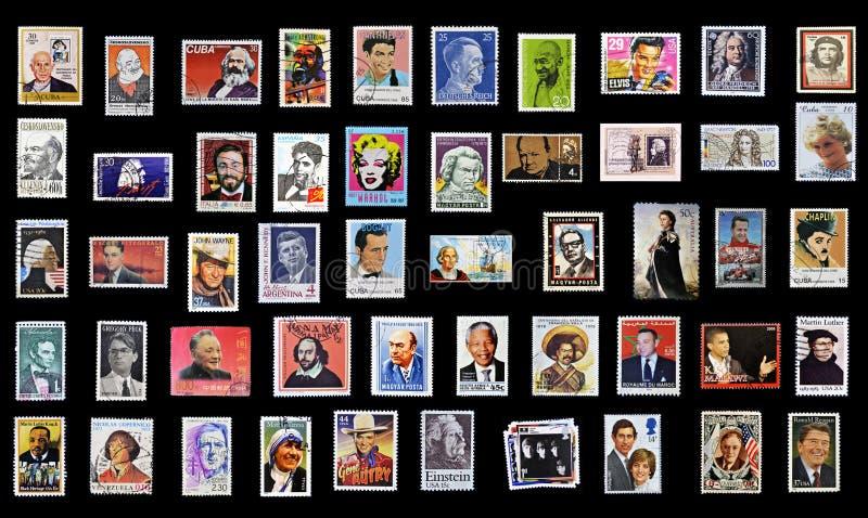 50 zegels van persoonlijkheden royalty-vrije stock fotografie