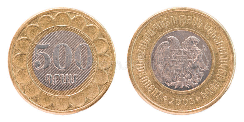 500 Armenian dollars coin royalty free stock images