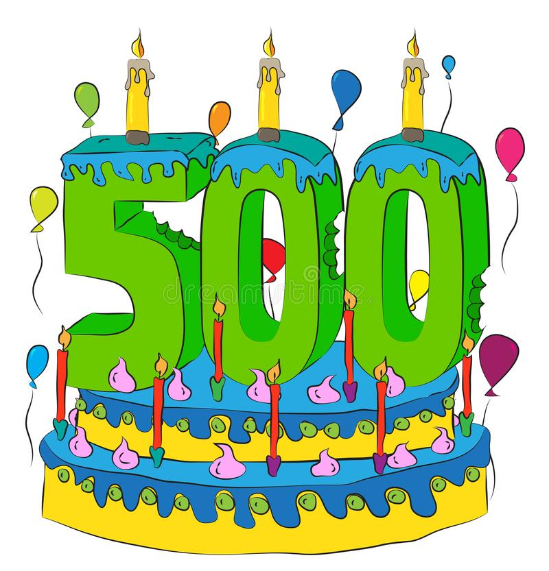 Free 500 Birthday Cake With Number Five Hundred Candle, Celebrating Five Hundredth Year Of Life, Colorful Balloons And Chocolate Coatin Stock Photo - 104939890