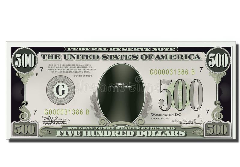 500 dólares engraçados em branco da nota de banco dos EUA ilustração royalty free