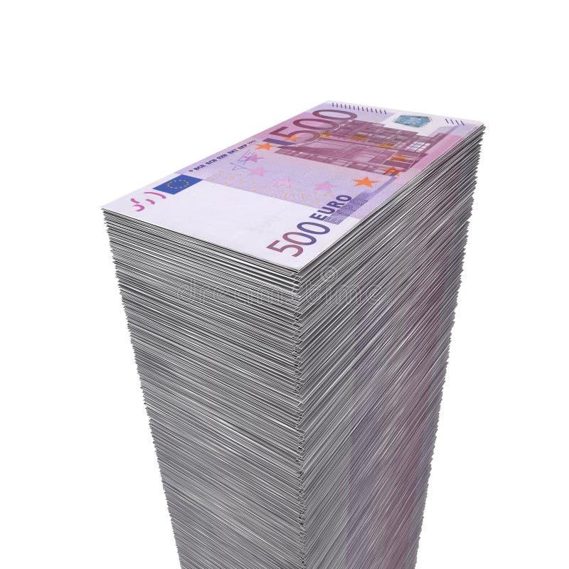 500 Duży Euro Pieniądze Notatek Stos Zdjęcia Royalty Free