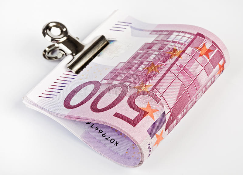 500 Euro Bank Notes Fasten With Paper Clip Royalty Free Stock Image