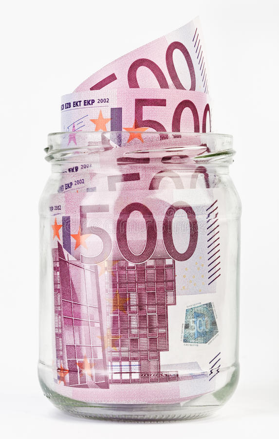 Free 500 Euro Bank Notes In A Glass Jar Stock Images - 14406404