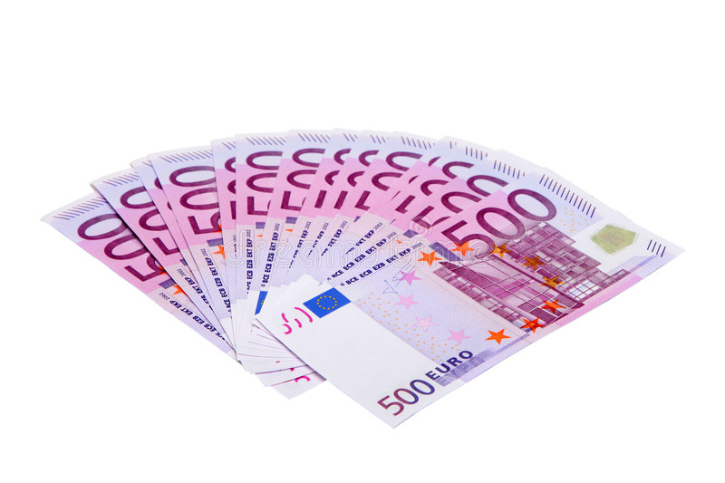 500 euro banknotes. Isolated on white stock photo