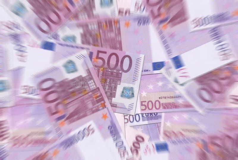 500 euro notes donnent à la tache floue radiale photo libre de droits