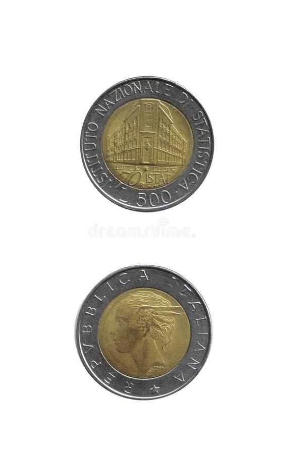 500 Lires italiennes de pièces de monnaie de vieux photos libres de droits