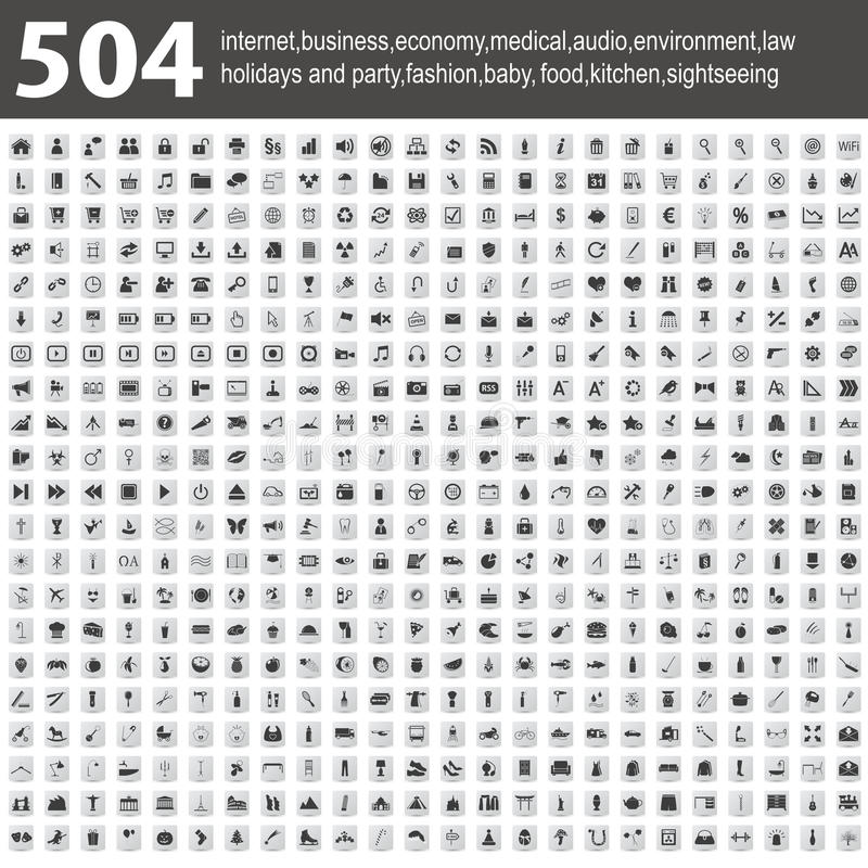 504 ícones com sombra ilustração stock