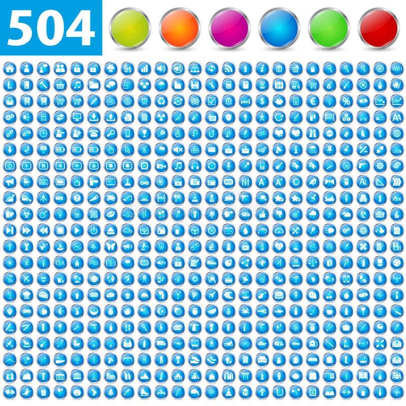 504 ícones lustrosos ilustração do vetor