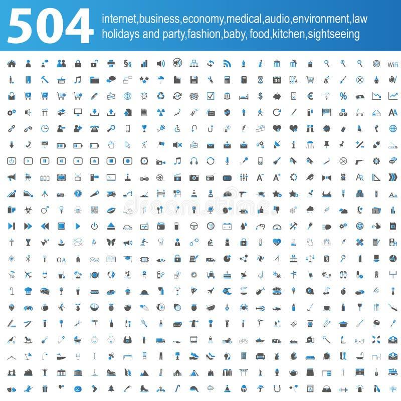 504 blauwe/grijze Pictogrammen vector illustratie