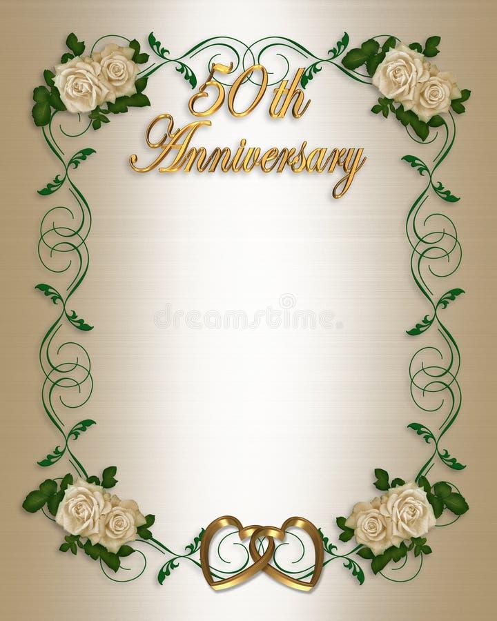 50th årsdaginbjudanbröllop vektor illustrationer