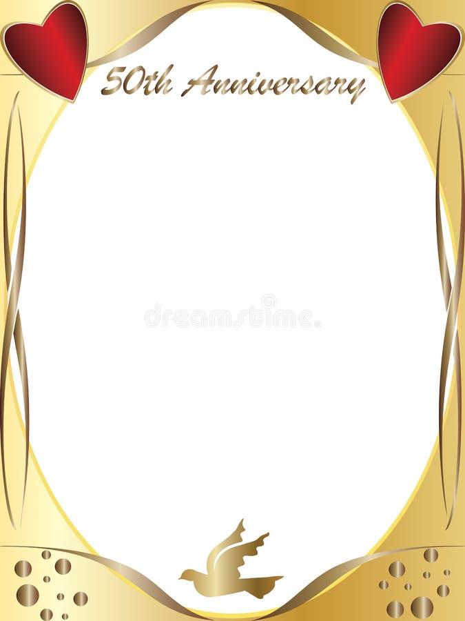 50th венчание годовщины иллюстрация вектора