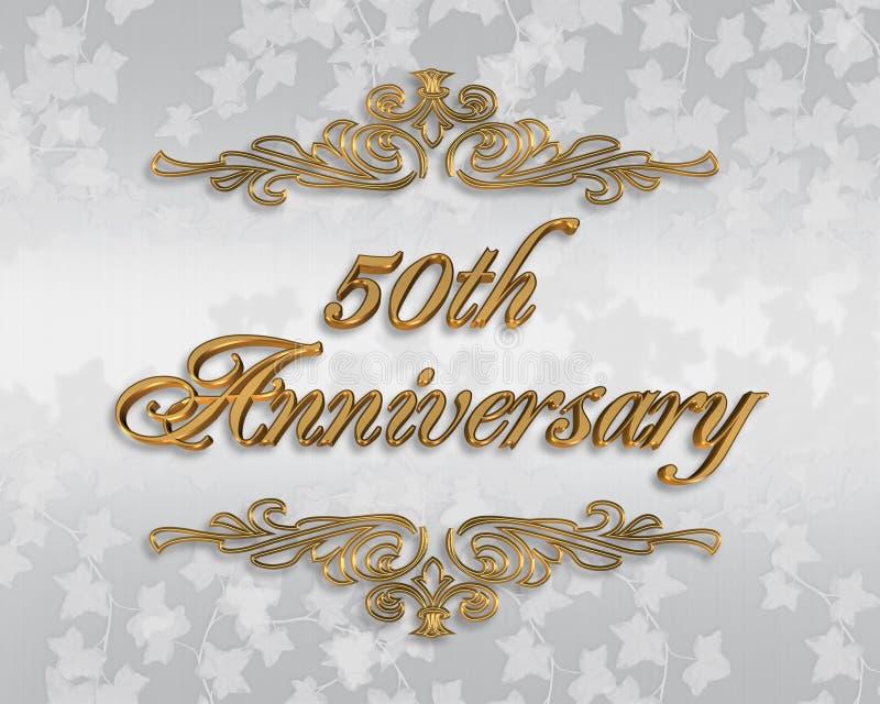 50th венчание приглашения годовщины иллюстрация вектора
