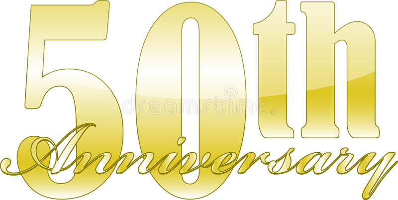 50th Anniversary. 50th year anniversary golden isolated over a white background.vector file also available royalty free illustration