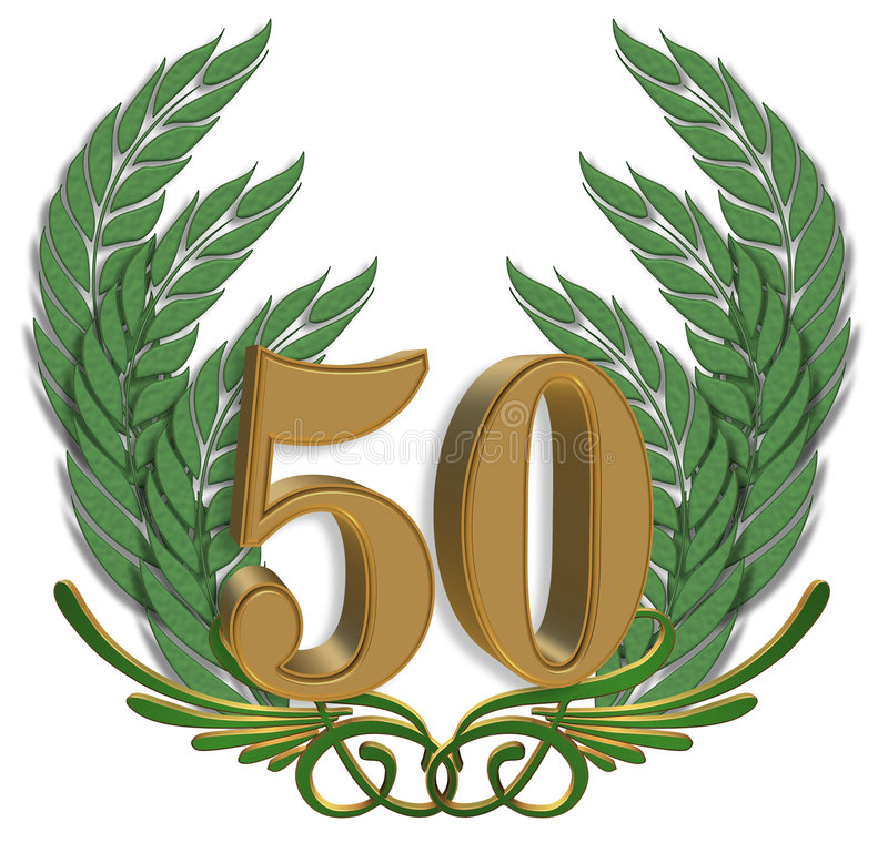 50th Anniversary. 3 Dimensional Illustration composition for background design element for 50th Anniversary with ornamental leaves vector illustration