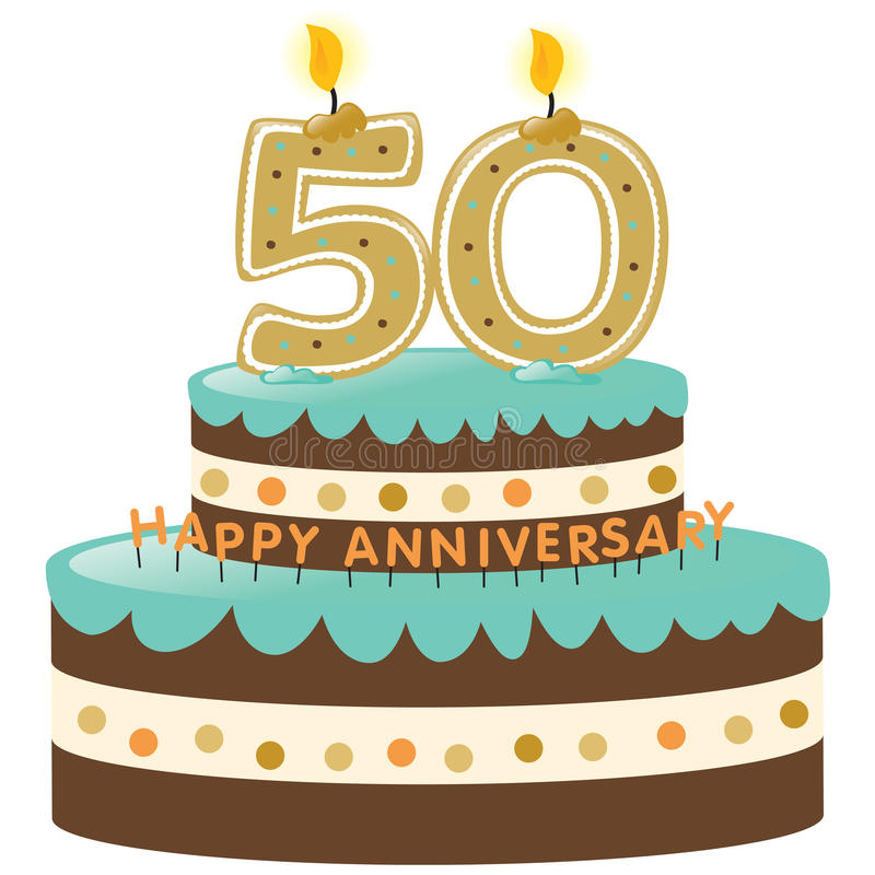 50th Anniversary Cake with Candles. Isolated on white stock illustration