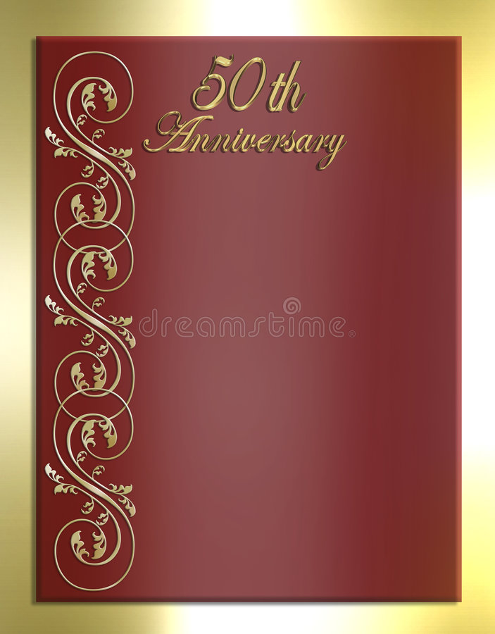 50th Anniversary Card or Invitation royalty free illustration