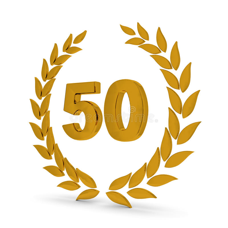 Download 50th Anniversary Golden Laurel Wreath Stock Illustration - Illustration of pennant, festive: 10024786