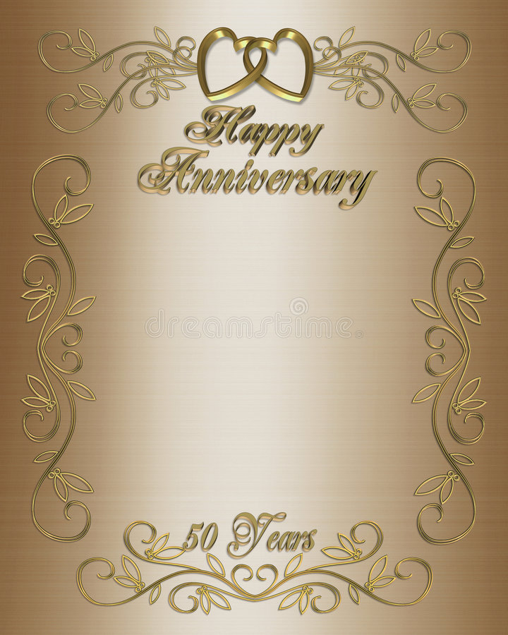 50th Anniversary Invitation Border. Illustration composition 3D, design for 50th wedding anniversary elegant background, border or formal invitation with golden royalty free illustration