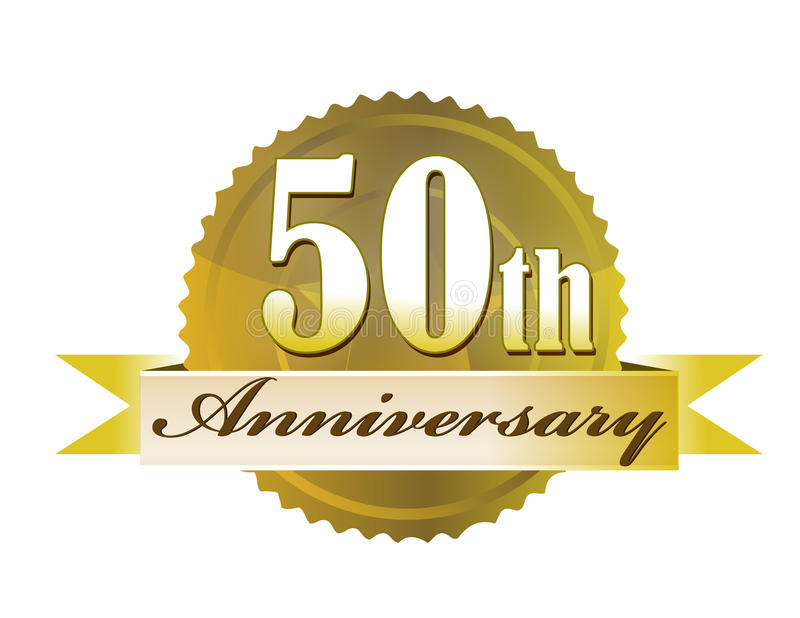 50th Anniversary Seal. 50th year anniversary golden seal isolated over a white background. vector file also available stock illustration