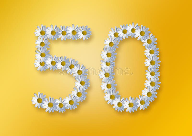 50th birthday. Image for 50th birthday, golden wedding oder jubilee formed by marguerite flowers stock illustration
