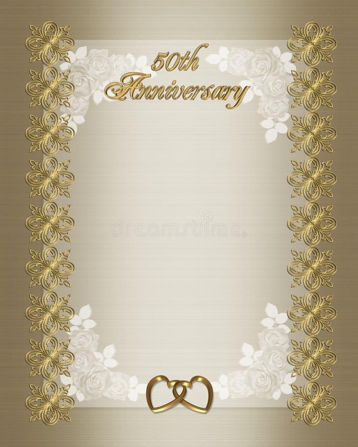 50th bröllop för årsdaginbjudanmall stock illustrationer