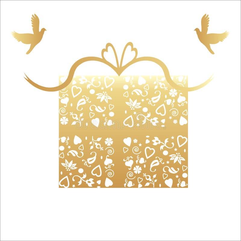 50th cartão dourado do presente do aniversário de casamento ilustração stock