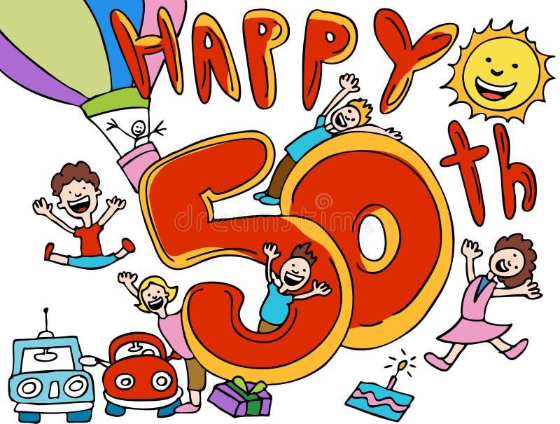 50th lyckligt royaltyfri illustrationer