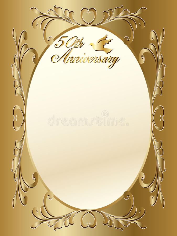 50th wedding anniversary border. A 50th wedding anniversary border with copyspace, text and beautiful hearts royalty free illustration