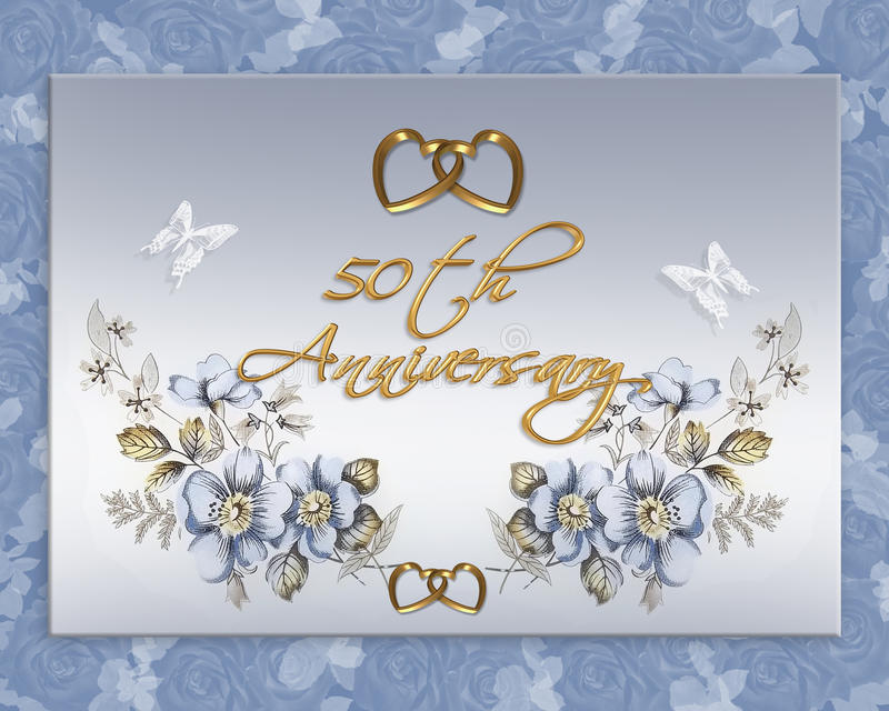 50th wedding anniversary card. Image and illustration composition for 50th wedding anniversary card or invitation with blue floral design, gold hearts and soft royalty free illustration