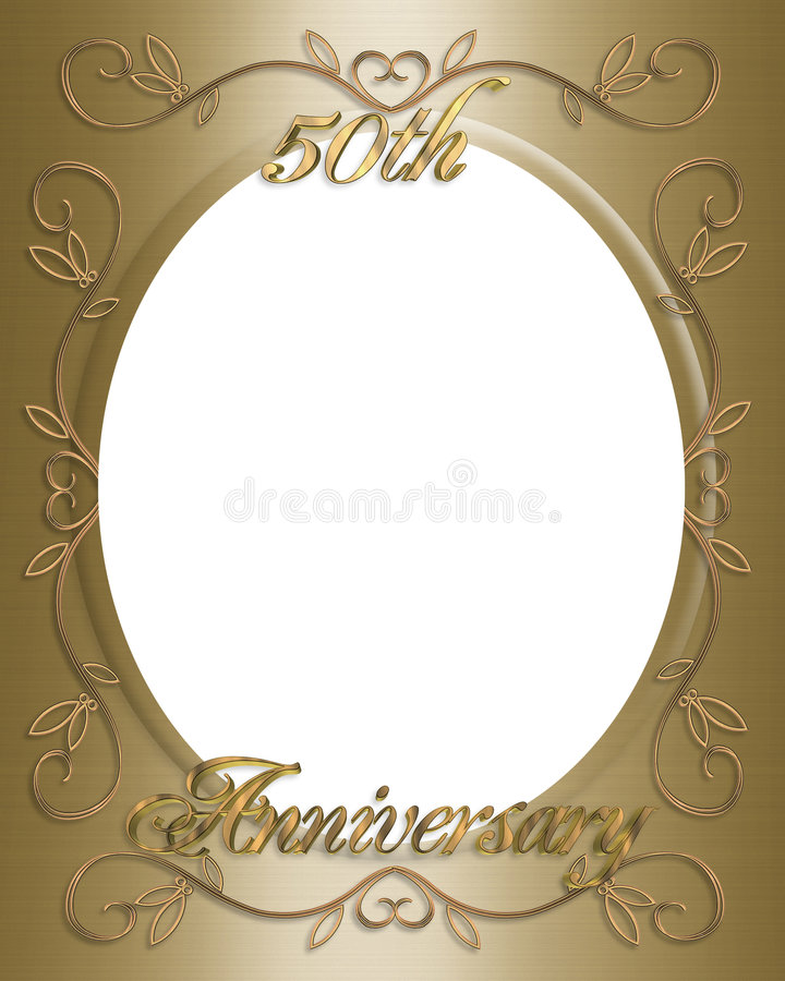 50th Wedding Anniversary Frame Stock Illustration - Illustration of ...