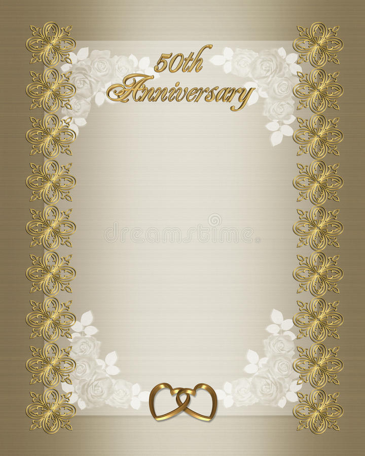 50Th Wedding Anniversary Invitation Template Royalty Free Stock