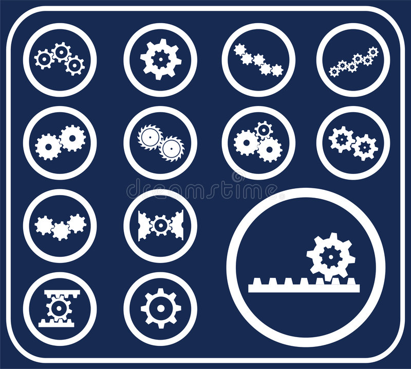 51 установленная шестерня кнопок d иллюстрация штока