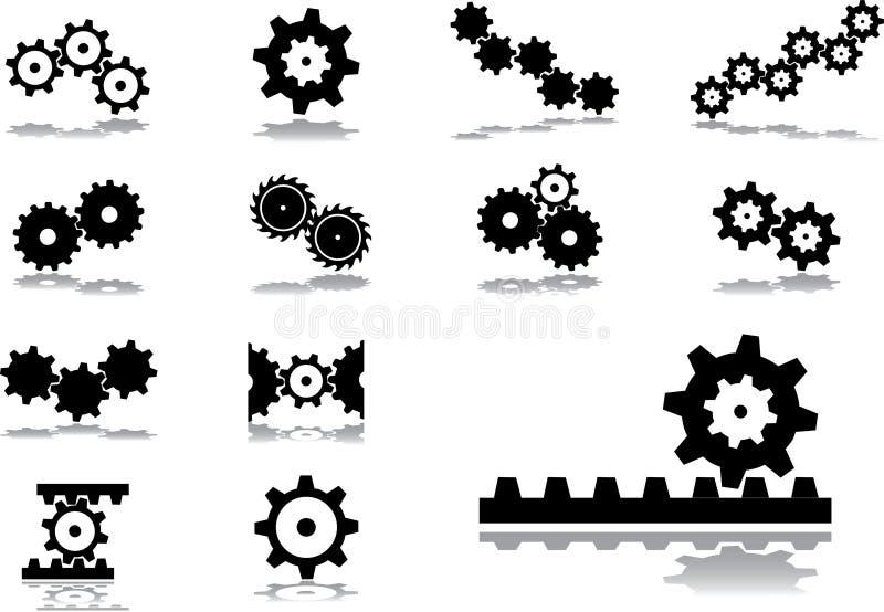 51 inställda kugghjulsymboler stock illustrationer