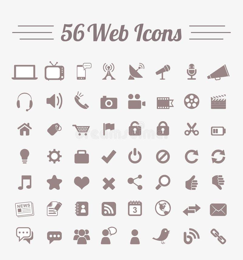 56个万维网图标 皇族释放例证