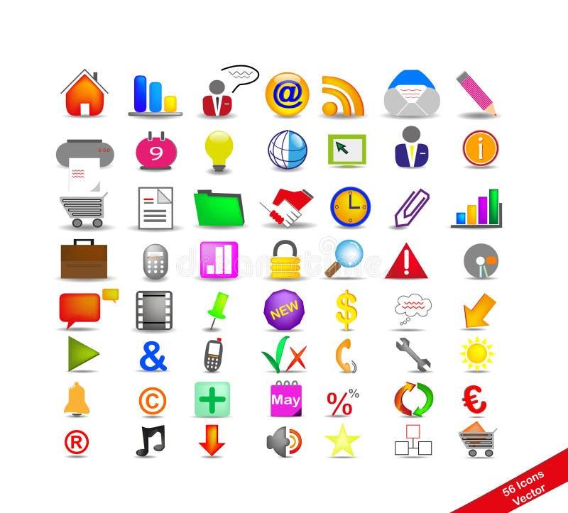 56 kolorowych ikon nowy set ilustracja wektor
