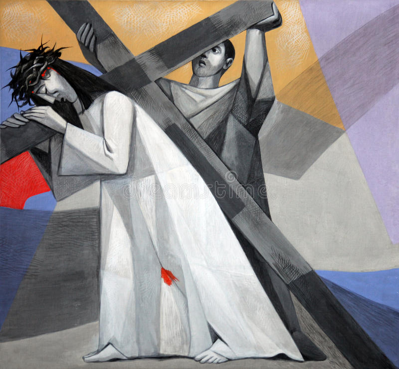 Free 5th Stations Of The Cross, Simon Of Cyrene Carries The Cross Stock Photography - 83897992