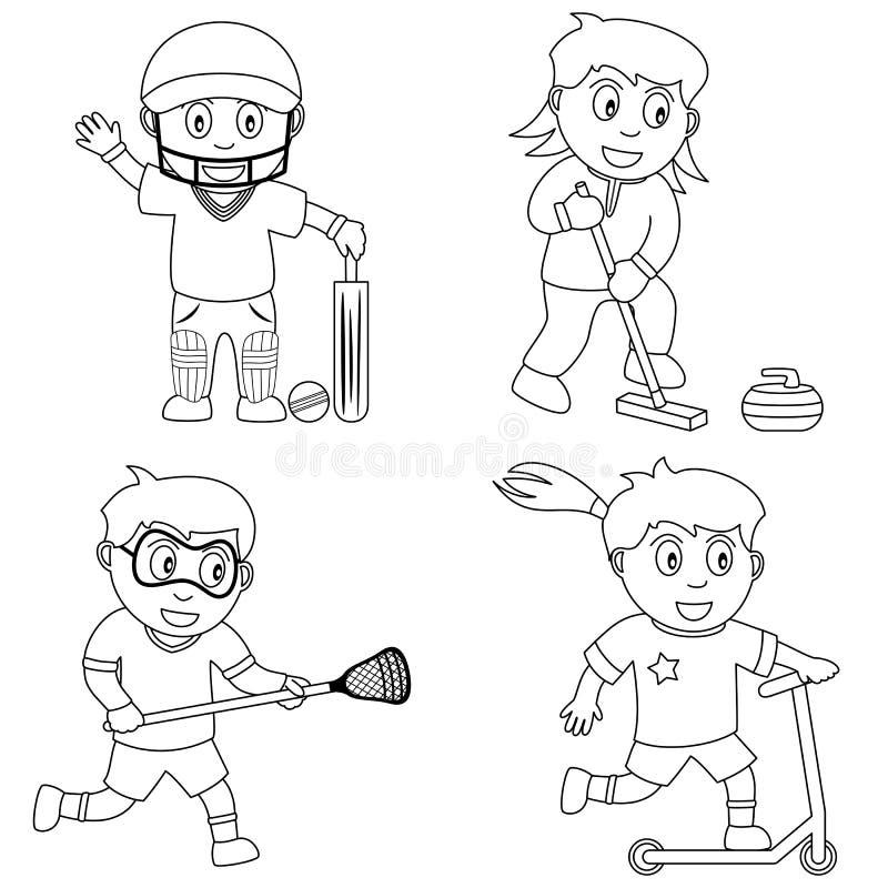 6个上色孩子体育运动 库存例证