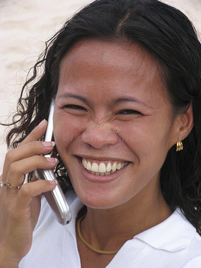 6个亚洲人电话妇女 图库摄影