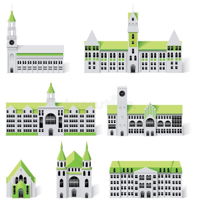 6个大厦城市创建diy工具箱映射零件 库存例证