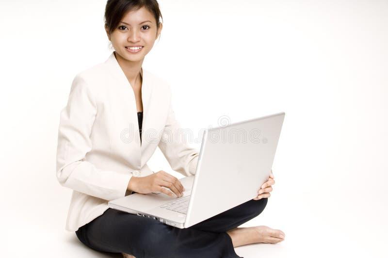 6个女孩膝上型计算机 库存照片