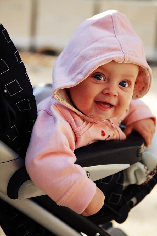 6个婴孩月婴儿推车 免版税库存照片