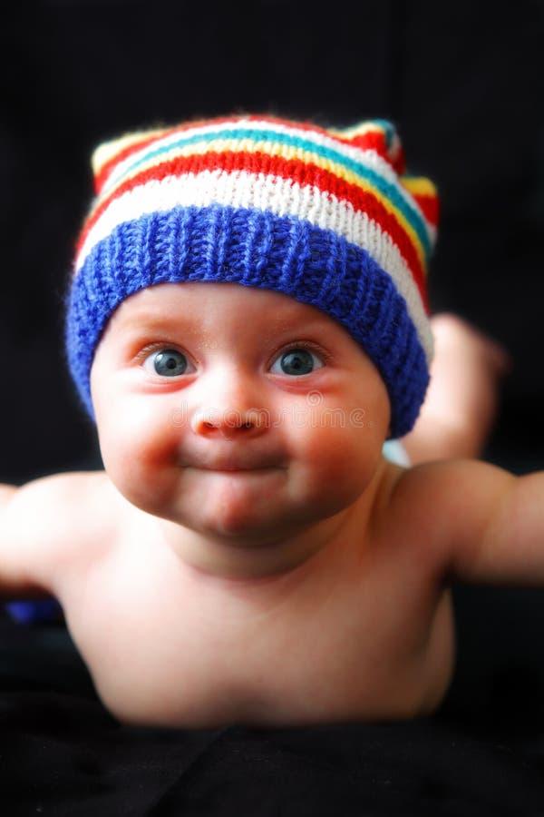 6个婴孩逗人喜爱月portrate微笑 免版税库存图片