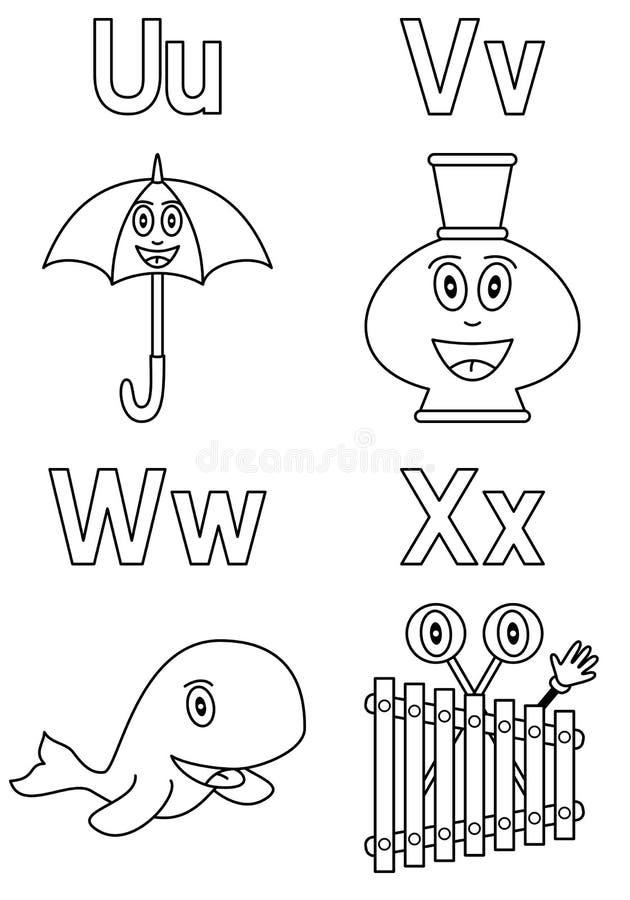 6个字母表着色孩子 向量例证