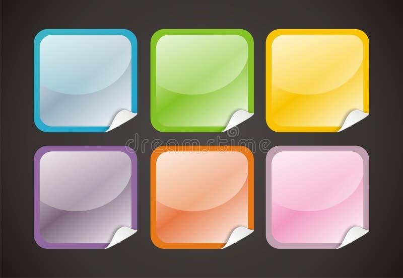 6个按钮光滑的万维网 库存例证